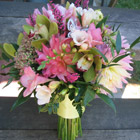 Flower arrangement titled Spring Into Pink