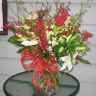 Flower arrangement titled Holiday in the Tropics