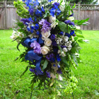 Flower arrangement titled Condolence in blues