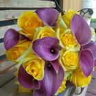 Flower arrangement titled wedding in yellow and purple
