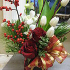 Flower arrangement titled Red and White Christmas Delight