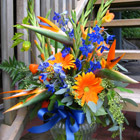Flower arrangement titled Hot Moments